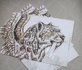 """carte postale """"le grimoire des étranges créatures""""- smilodon des neiges"""