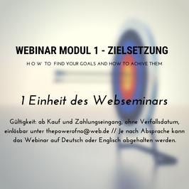 Webinar Modul 1 - Zielsetzung