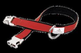 Hundehalsband aus Used Denim und buntem Gurtband, 2,5 cm breit