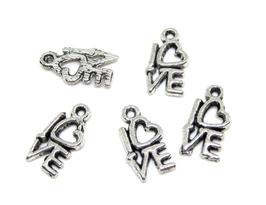 5 breloques Love en métal argenté - 14 x 8 mm - RZZ27