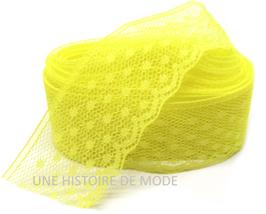 1 mètre de dentelle jaune à petits pois plumetis 30 mm - D41