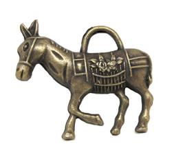 Breloque âne en métal couleur bronze 33 x 30 mm