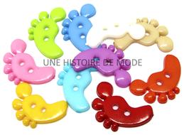 10 boutons pieds de couleurs mixtes - 22 x 16 mm - BT075