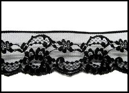 1 mètre de dentelle noire à fleur - 45 mm de largeur  - D28
