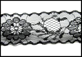 Dentelle noire - galon dentelle fleurs noires - 38 mm de largeur - vendue au mètre -D25