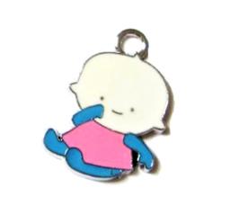 Breloque bébé en métal et email rose et bleu - FFA3