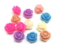 10 cabochons fleur mixtes en résine - 10 mm - CCW5