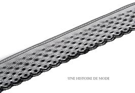 1 mètre de dentelle noire petits pois plumetis -  30 mm - D46