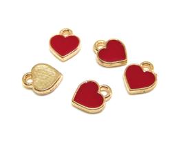 5 Breloques coeurs rouges en métal doré - 8 x 7 mm - RZZ182