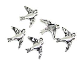 5 Breloques hirondelle en métal argenté -  RZZ12