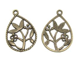 2 breloques goutte en métal bronze ajouré  - G004E