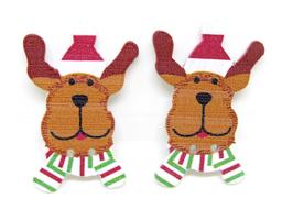 2 boutons en bois  chien de Noël - 37 x 24 mm - BT041