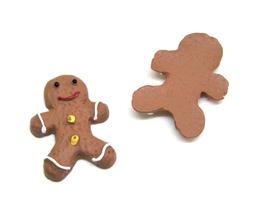 2 cabochons personnage pain d'épice en résine  - 22 x 16 mm - CCW79