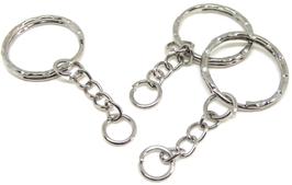 3 porte-clés en métal argenté - 53 mm