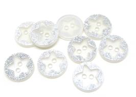 10 boutons étoiles pailletés en acrylique  - 12 mm - BT081