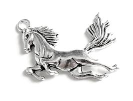 Breloque cheval en métal argenté - 51 x 43 mm - RZZ83