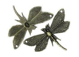 2 connecteurs libellule en métal couleur bronze - 49 x 30 mm - TR044