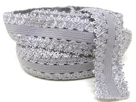 Ruban élastique dentelle grise - 20 mm