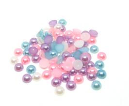 100 demi-perles pastels nacrées en acrylique - 3 mm - CCW63