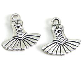 2 Breloques tutu de danse en métal argenté - RZZ186