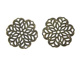 2 estampes filigrane fleur couleur bronze - 29 mm - E16