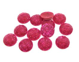 10 cabochons rose foncé pailleté en acrylique 10 mm - CCW27