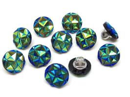 10 boutons strass bleu irisé en acrylique 12 mm - BT026