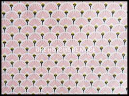 Tissu éventail en coton rose  -  50 x 45 cm - T102