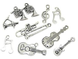 10 breloques instruments de musique en métal argenté - RZZ75