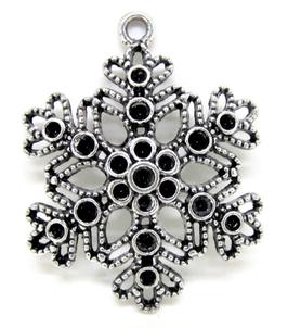 Pendentif flocon de neige argenté vieilli - 40 x 32 mm