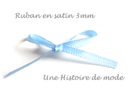 1 mètre de ruban en satin bleu clair 3 mm