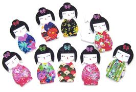 10 boutons geisha en bois mixtes  - 30 x 15 mm - BT038