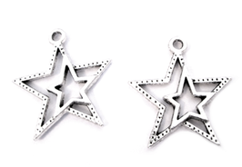 2 Breloques étoile en métal argenté - 22 x 20 mm - RZZ131