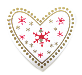 1 bouton en bois coeur de Noël - 35 x 33 mm - BT040