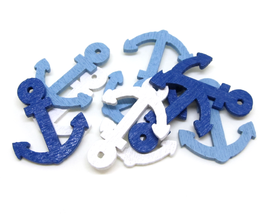 10 ancres marine en bois bleu et blanc - 24 x 19 mm - CCW15