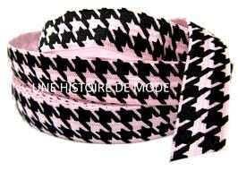 Ruban élastique pied de poule rose et noir - 15 mm - EL27