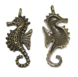 2 Breloques Hippocampe en métal bronze - 29 x 11 mm