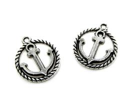2 Breloques médaillon ancre marine en métal argenté  - RZZ44