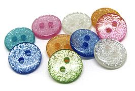 10 boutons en résine pailletée  - 11 mm  - BT001