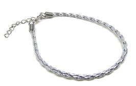 Bracelet cordon tressé argenté avec fermoir  BB02