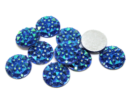 10 cabochons strass bleu irisé synthétique 10 mm - CCW20