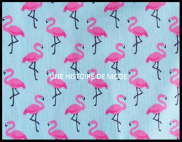 Tissu flamant rose en coton  bleu -  50 x 45 cm