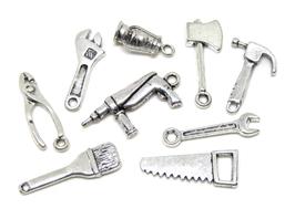 9 breloques outils de bricolage en métal argenté