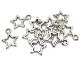 10 breloques étoiles en métal argenté - 12 x 9 mm - RZZ38