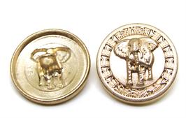 Bouton en métal doré avec éléphant - 20 mm - B001F