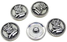 5 boutons hibou en métal argenté vieilli - 21 mm - B014T