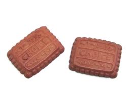 2 cabochons biscuit en résine  - 20 x 16 mm - CCW76