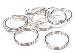 20 anneaux doubles 14 mm en métal argenté