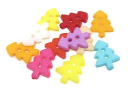 10 boutons sapin en acrylique couleurs mixtes - 17 x 13 mm - BT082