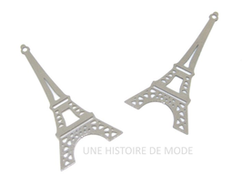 2 estampes tour Eiffel en acier inoxydable  - 38 x 19 mm- E8